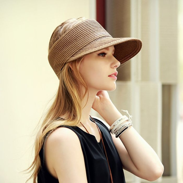 20a6d2f4841 2016 New Fashion Women Lady Foldable Roll Up Sun Beach Wide Brim Straw  Visor Hat Cap