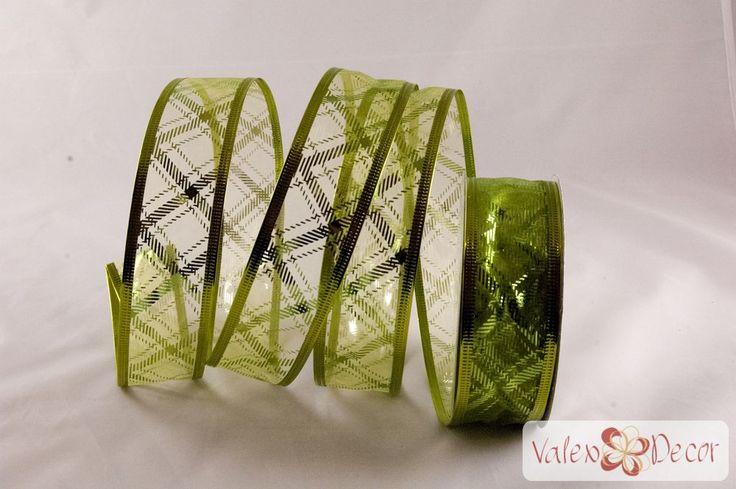 Karácsonyi organza szalag - zöld mintás - 38mm x 9,1m - Valex Decor Kft. | Virágkötészeti kellékek és dekorációk webáruháza
