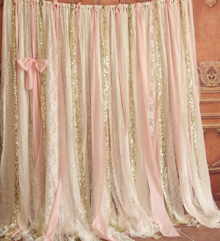 Chic Shabby White Lace Pink Fabric Sparkly Photo Booth