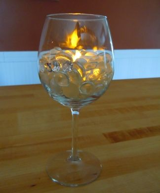 163 best led battery tea light wedding ideas images on for Centerpieces made with wine glasses