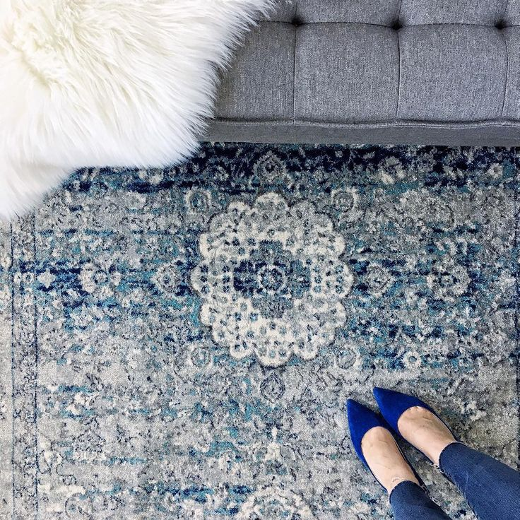 Bosphorus BD07 Distressed Persian Rug in Light Blue rug from RugsUSA Instagram photo by @crazystylelove