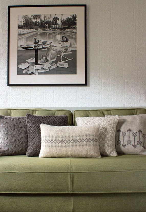 Autumn Neutral Knitted Pillow / Cushion Cover /// by KnitFrekkles, $126.00 (Used all natural British yarns)