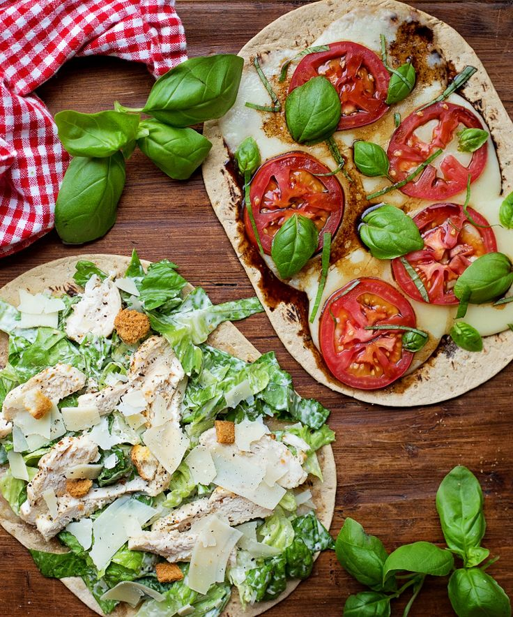 Simple, quick and delicious Flatbread Pizzas - so many options including Caprese Pizza and Chicken Caesar Salad Pizza!