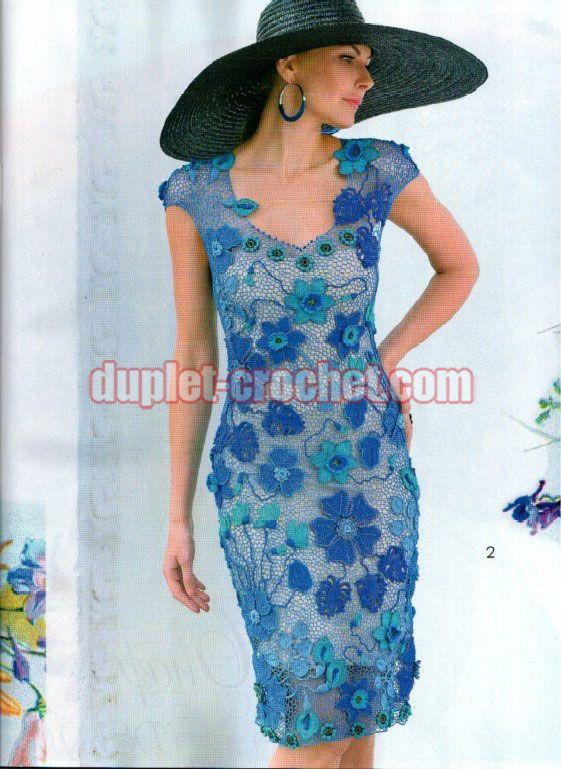 #crochet_irish_dress #crochet_blue_dress #crochet_mesh