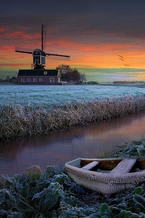 The Netherlands in the morning, in winter time.♡