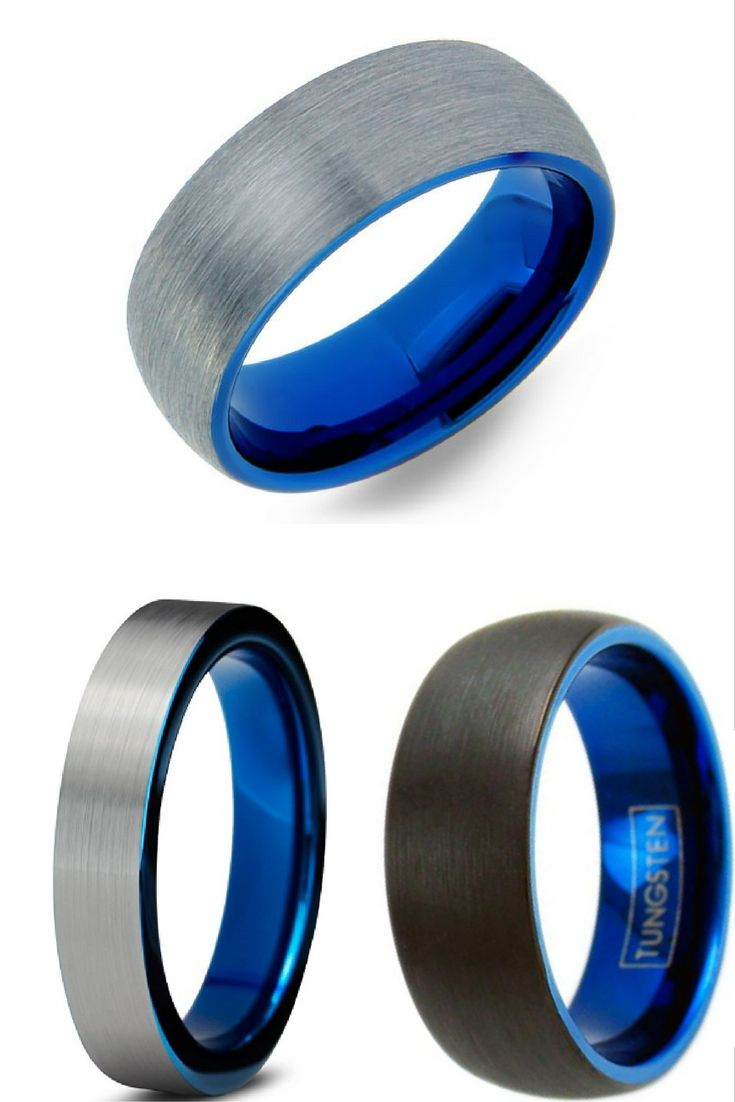 Mens Blue Brushed Tungsten Wedding Band With Blue Interior I Love These Mens  Wedding Bands