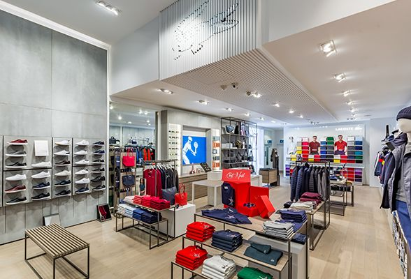 DesignLSM has redesigned the interiors of the Lacoste store in Westfield Stratford City, east London.