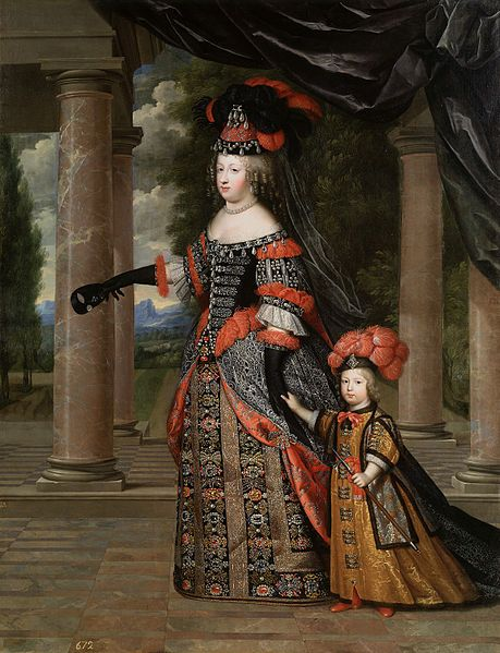Queen Maria Theresa of France and her son the Dauphin, by Charles Beaubrun, c. 1663-66. Her husband, Louis XIV was her double 1st cousin.  Her mother Elizabeth was Louis's sister, and her father, Philip IV of Spain was the brother of Louis's mother, Anne of Austria. Only one of her children survived her, Louis, the Grand Dauphin, but one of her grandsons became Philip V of Spain.