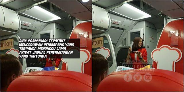 Pesawat Air Asia Tertunda Lihat Video Aksi Pramugari Comel Ini Menghiburkan Penumpang   Pesawat Air Asia Tertunda Lihat Video Aksi Pramugari Comel Ini Menghiburkan Penumpang  Sesiapa yang selalu menggunakan kapal terbang sebagai pengangkutan utama pasti pernah merasa keperitan apabila penerbangan yang dijadualkan tertangguh. Bak kata orang penantian itu satu penyeksaan.  Namun bagi para penumpang yang dalam perjalanan menaiki pesawat Air Asia dari Hong Kong ke Bangkok mungkin tidak berasa…