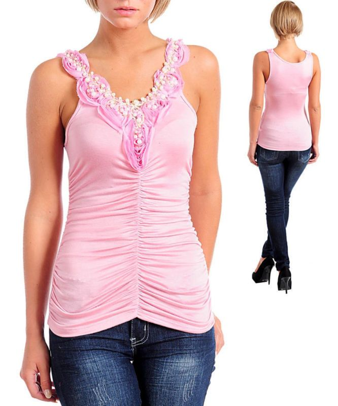 Pink Romantic Ruched Rosette Pearl Shirt Top