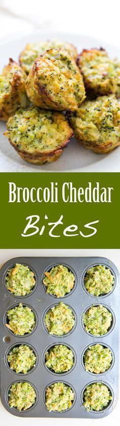 Broccoli Cheddar Bites ~ Cheesy baked broccoli snacks, great for a brunch, kid-friendly lunch, or party! ~ http://SimplyRecipes.com