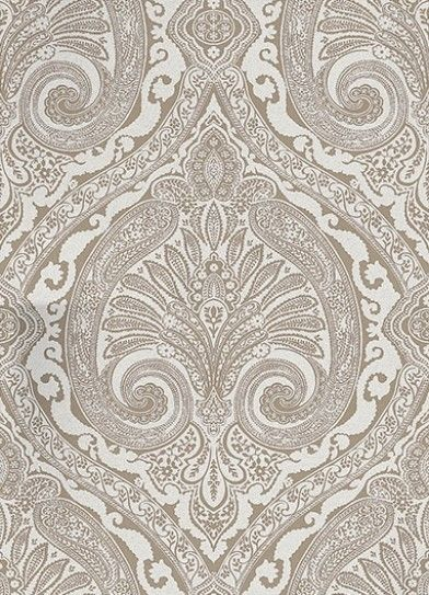 Khitan Silver (NCW4186-08) - Nina Campbell Wallpapers - Named after the ancient nomadic tribe from the North of China, this opulent wallpaper features a large scale paisley damask in matt and metallic colourings. Shown here in metallic silver. Other colourways are available. Please request a sample for a true colour match. Large scale pattern repeat.