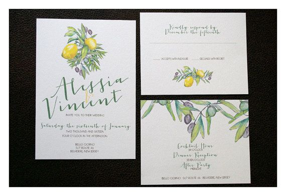 Design shown: Rustic Italian Wedding Invitation - Rustic Countryside Style - Rustic Chic Watercolor - Olives and Lemons Wedding Invites - Tuscan