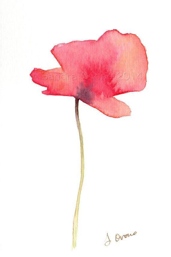 Coquelicot aquarelle originale peinture de fleur par SandraOvono