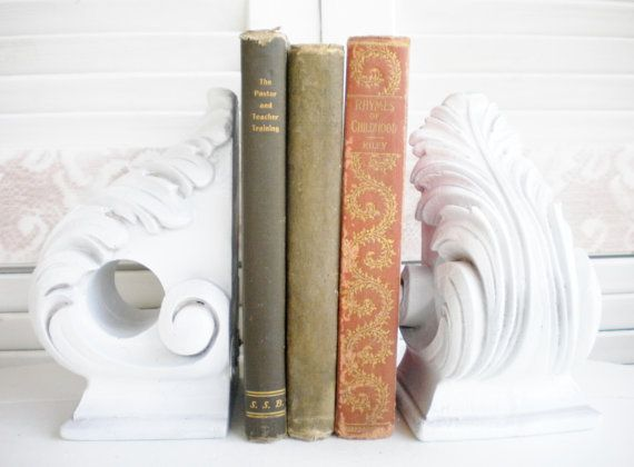 Shabby French Distressed Bookends , Swag Holders Home Decor Fancy Scroll detail Ornate, Gift, Wedding Decor