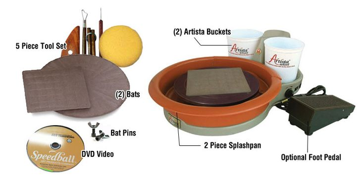 Speedball artista pottery wheel package with foot pedal