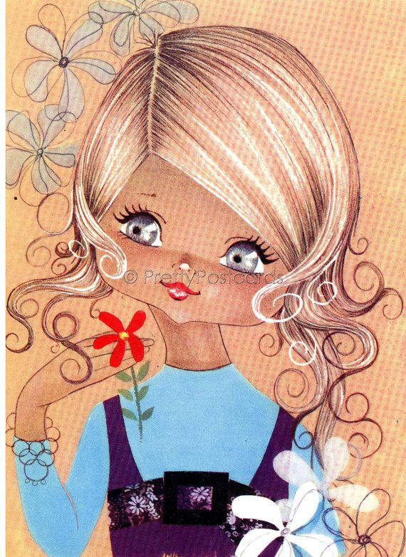 Big Eyed Girl vintage 70s postcard by PrettyPostcards on Etsy, $4.25