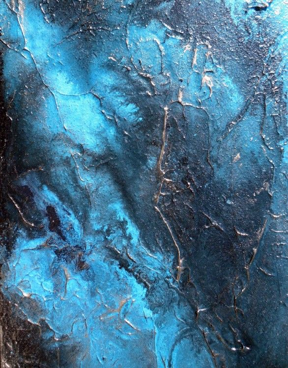 Large Wall Art, Abstract Painting, Contemporary Water Art AQUA PURA by Holly Anderson (Painting),  30x40x40 in by Holly Anderson Heavily textured with 100% acrylic gloss polymers and magnetic hematite sand.  Painted via aqueous methods with acrylic paint and water.