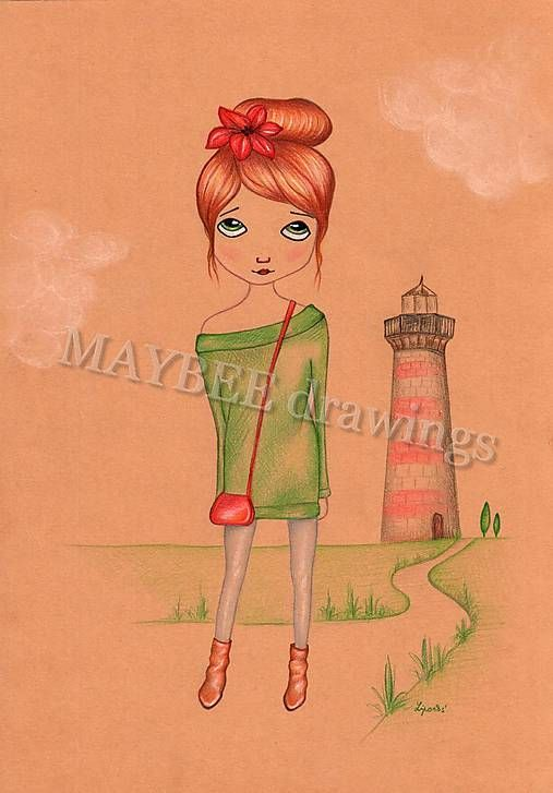 Online print, Linda a maják, cute drawing, colored drawing, colored pencil, girly drawing, toned paper, toned paper drawings