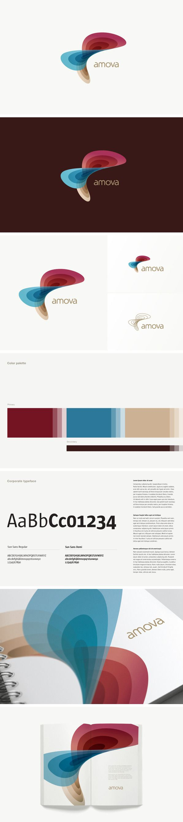 Corporate and brand identity Amova by Roger Oddone