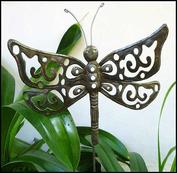 Metal Art, Garden Art, Metal Plant Stake   Dragonfly Garden Plant Stick   Outdoor Garden Decor, Steel Drum Art From Haiti   PS 1788