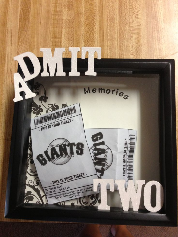 DIY shadow box ticket holder, admit one, memories