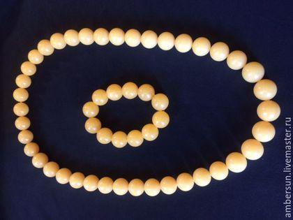 Комплект бусы ожерелье и браслет из Балт янтаря в интернет-магазине на Ярмарке Мастеров. Колье - бусы - ожерелье и браслет из природного Балтийского натурального янтаря. Длина ожерелья 68 см, длина браслета 21 см. Вес комплекта 186,7 грамма.