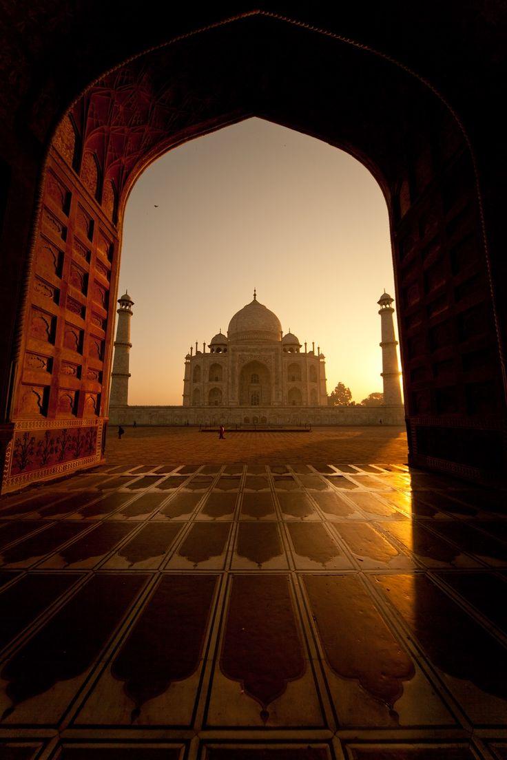 The sun setting in India