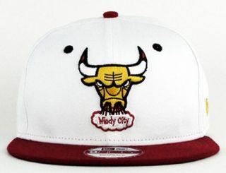 NBA Windy City 2Tone White-Claret Bulls Snapback Hat by New Era