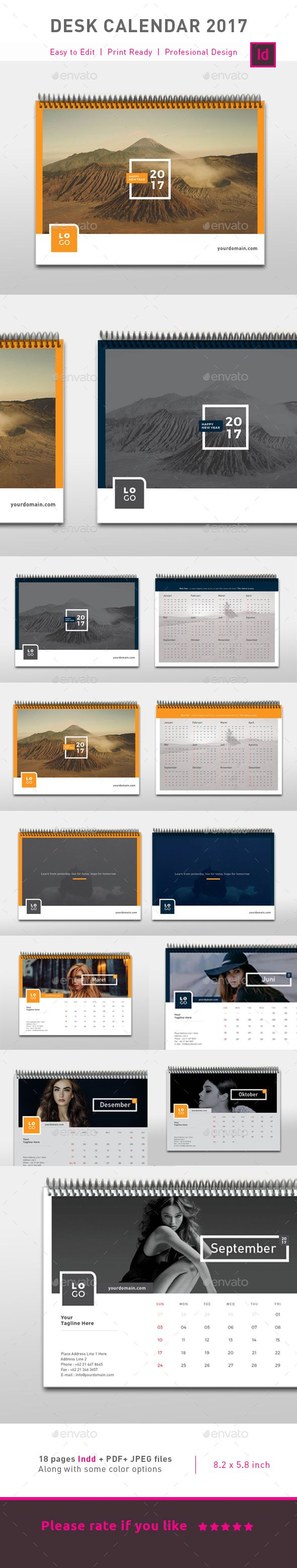 Clean Calendar 2017 — InDesign INDD #template • Download ➝ https://graphicriver.net/item/clean-calendar-2017/19182205?ref=pxcr