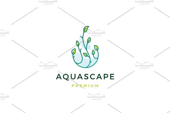 Aquascape Leaf Tree Water Drop Logo In 2020 Water Drop Logo Drop Logo Aquascape