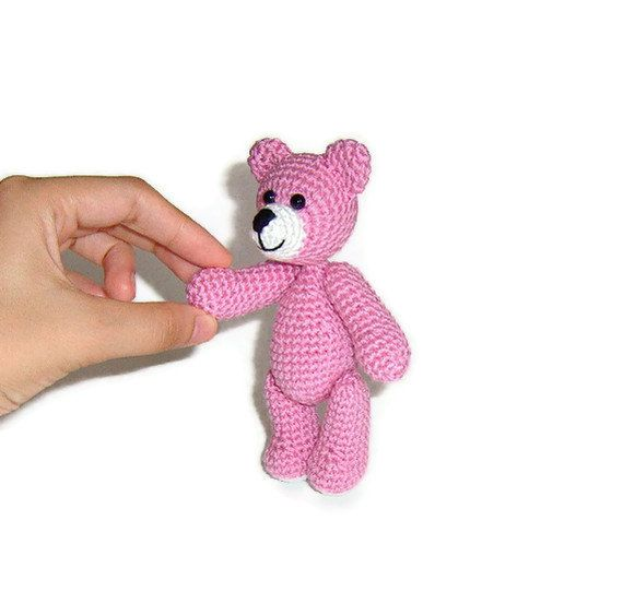 Amigurumi Llittle Crochet Pink Teddy Bear by naryatoys on Etsy, $17.00