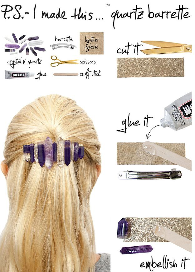 Jazz up a plain barrette with crystal and quartz pieces. | 31 Impossibly Pretty DIY Hair Accessories