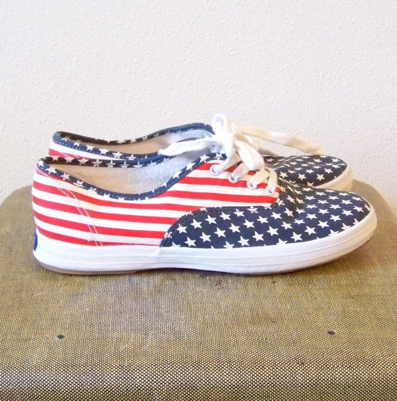 Stars and Stripes American Flag Keds Tennis by evileyevintage