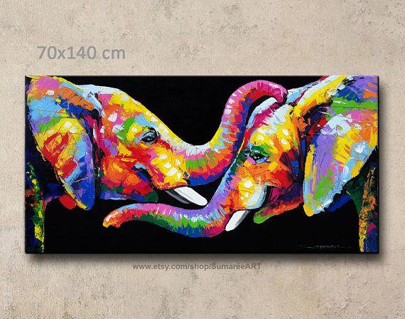 Uber Das Produkt Dieser Artikel Ausdruckliche Lieferzeit Dauert 7 10 Tage Bunte Abstrakte Elefant Acr Elephant Painting Elephant Canvas Abstract Elephant