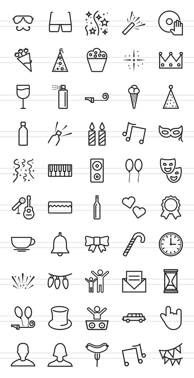 50 Party Line Icons von IconBunny auf Creative Mar…