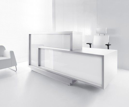 FORO Reception Desk, Left-Handed Counter, High Gloss White Buy Online at Best Price - SohoMod