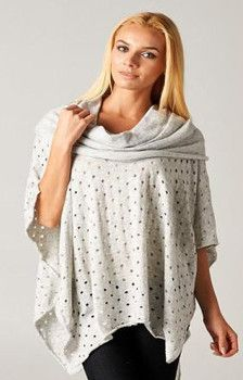 All Over Holes Poncho Grey - Winter 2015 Collection - LOVESTITCH #lovestitch