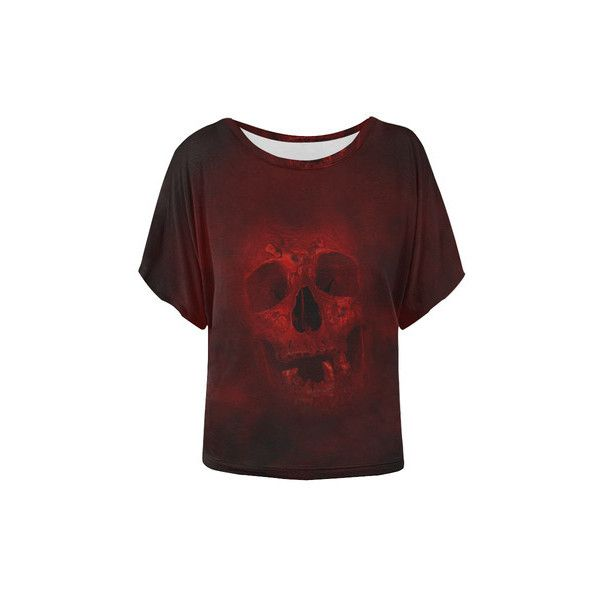 Red Skull Women's Batwing-Sleeved Blouse T shirt (Model T43) ($20) ❤ liked on Polyvore featuring tops, batwing sleeve tops, bat sleeve tops, red top and skull top