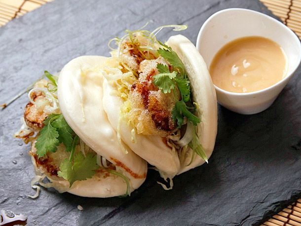 #vegan steamed buns with tempura king oyster mushrooms and agave-miso mayonnaisse