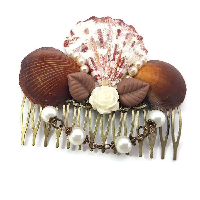 Seashell Comb-Brown Shell Comb-Nautical Wedding-Beach Bridal-Prom Hair Comb-Under the Sea-Pearl Comb-Natural Comb-Bridesmaid Comb-Mermaid