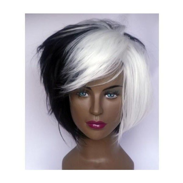 DELUXE CRUELLA DEVILLE VOLUMINOUS WHITE & BLACK MID LENGTH BOB COSTUME... ❤ liked on Polyvore featuring costumes, wig costumes, cruella de vil costume, womens halloween costumes, cruella de vil halloween costumes and lady halloween costumes