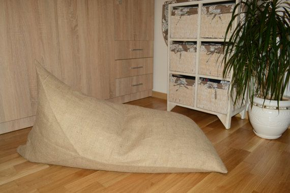 Organic, Burlap, Linen pouf, Floor cushion, Hypoallergenic pouf, Poof, Bean bag chair, Footstool, Rustic pouf, Coffee bag, Coffee sack, Café Chair  WE ARE READY TO SHIPP!!!  Out products are made from natural 100 % linen burlap with the highest density, that's why they available just in one natural color.  It is easy to fill or refill. Linen filling bag and inner lining have a zipper. But we recommend hand wash for bags.  Poufs are not large (size 60cm wide, 105cm high) but are very…
