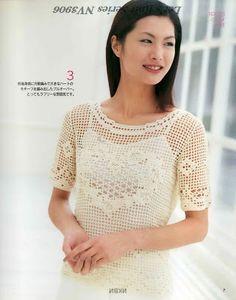 CARAMELO DE CROCHET: blusa blanca en filet