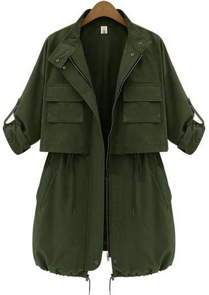 Drawstring Pockets Trench Coat by She Inside