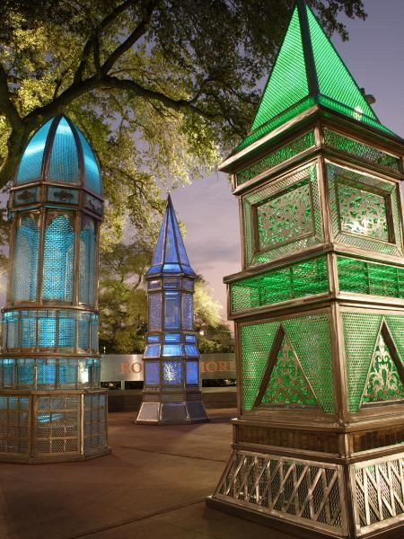 Downtown Houston - heritage lanterns at night - Root Memorial Park - across from Toyota Center