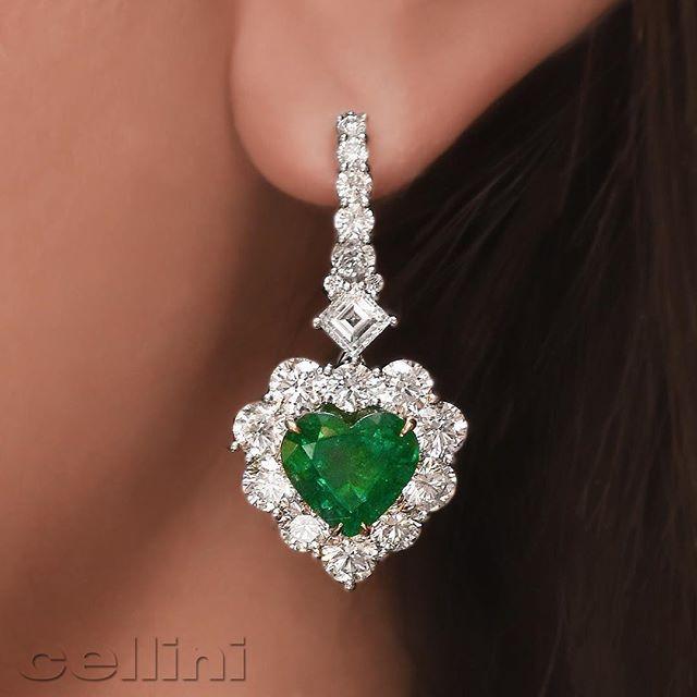 Cellini Jewelers NYC Emerald and Diamond Heart Earrings
