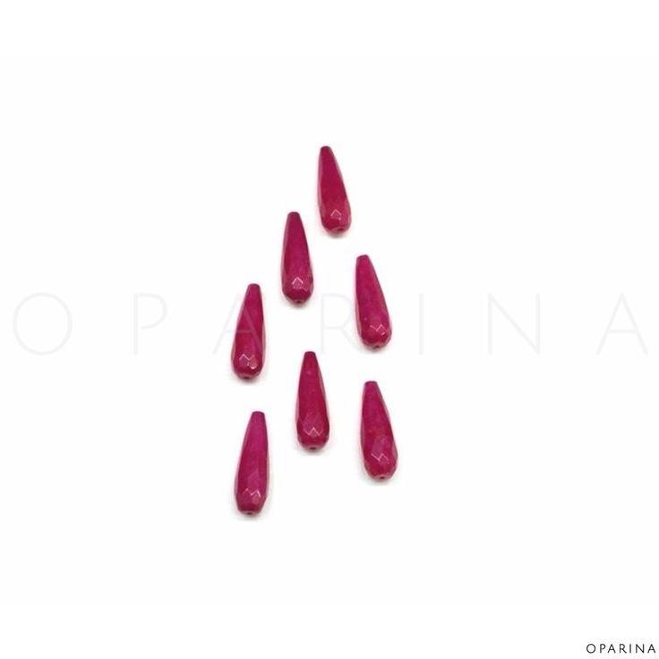 Gotas en Jade Facetado Color Fucsia 30mm. #jade #oparina #diy #naturalstone #gemstone #boho #gypsy  #bohochic #madewithstudio
