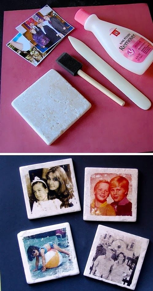 Transfer pictures to tiles with nail polish remover! They make for awesome coasters, and a unique custom gift idea