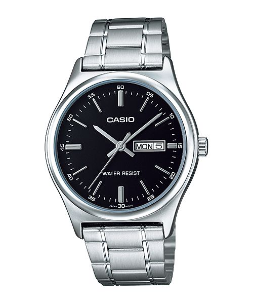 Casio Quartz Black Dial Day Date Stainless Steel Watch# MTP-V003D-1A (Men Watch)